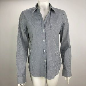 Theory Button V Neck Blouse Top Shirt Career Large